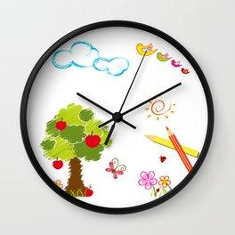 Apple Tree and Birds Wall Clock