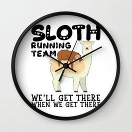 Lama Sloth Running Team Sarcasm Sarcastic Wall Clock