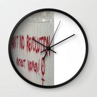 revolution Wall Clocks featuring Revolution by Thé Tulloch