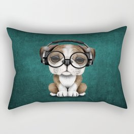 English Bulldog Puppy Dj Wearing Headphones and Glasses on Blue Rectangular Pillow