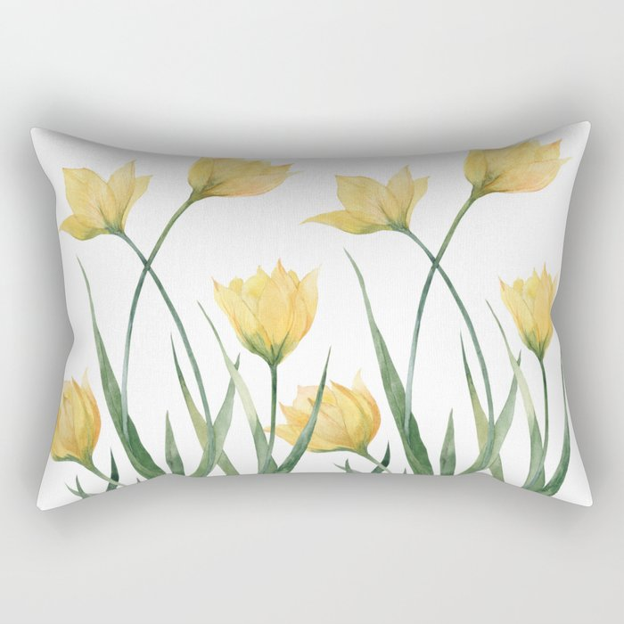 Yellow Woodland Tulips Rectangular Pillow