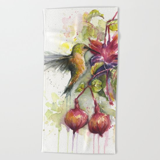 Hummingbird and Fuchsia Watercolor Beach Towel