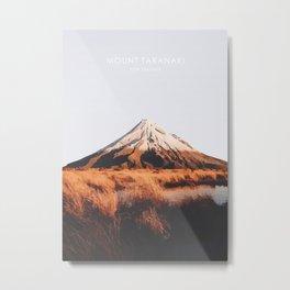 Mount Taranaki, New Zealand Travel Artwork Metal Print