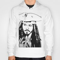 jack sparrow Hoodies featuring Captain Jack Sparrow by Evanne Deatherage
