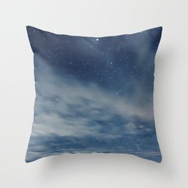 Night sky with stars and clouds Throw Pillow