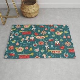 Teal Christmas Ornament Pattern Rug
