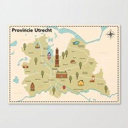 Geïllustreerde kaart van de provincie Utrecht Canvas Print