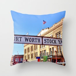 Fort Worth Stock Yards Throw Pillow