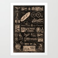 cycling Art Prints featuring Re. Cycling by NOT MY TYPE