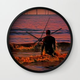In the surf at Sunset Wall Clock