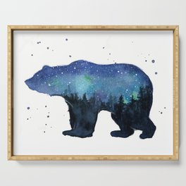 Forest Bear Silhouette Watercolor Galaxy Serving Tray