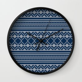 Scandinavian knitted pattern Wall Clock