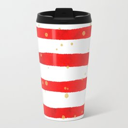 Modern hand painted red yellow watercolor stripes splatters Travel Mug