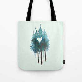 Forest Love - heart cutout watercolor artwork Tote Bag