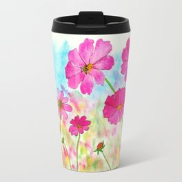 Symphony In Pink, Watercolor Wildflowers Travel Mug