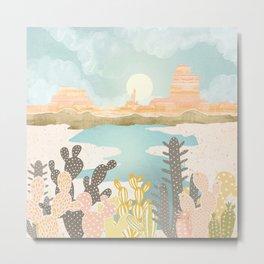 Retro Desert Oasis Metal Print