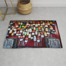 Old Lobster-Crab Fishing Trap Buoys Rug