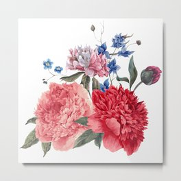 Beautiful PINK, ROSE AND BLUE - Jersey Beauty Flower Metal Print