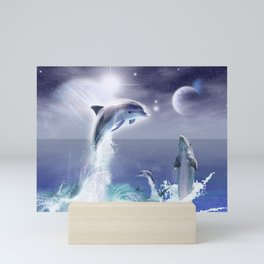 Dolphins and Planets Mini Art Print