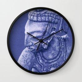 mayan nobleman blue Wall Clock