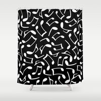 music notes Shower Curtains featuring Music Notes Black and White by Cute to Boot