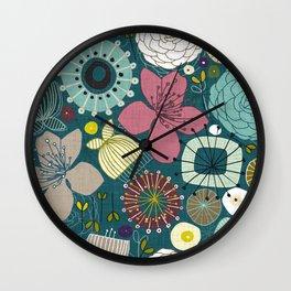 oriental blooms peacock Wall Clock
