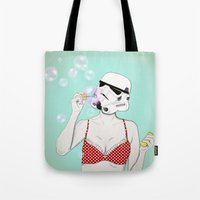 bubbles Tote Bags featuring Bubbles by Cisternas