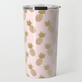 Pink & Gold Pineapples Pattern Travel Mug