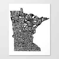 minnesota Canvas Prints featuring Typographic Minnesota by CAPow!