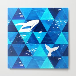 Blue Whale Jumping Metal Print