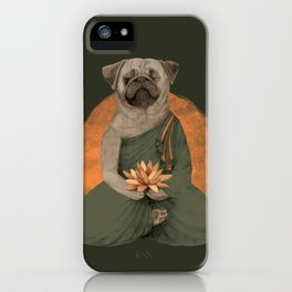 meditating pug - green iPhone Case