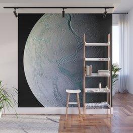 Saturn's moon Enceladus Side View Photograph Wall Mural
