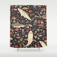 shower Shower Curtains featuring Oceanica by Anna Deegan