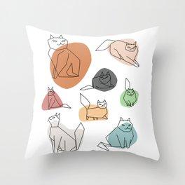 Cat in Moods Throw Pillow