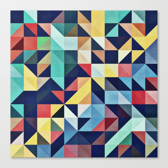 Modern Colorful Retro Geometric Triangle Pattern Canvas Print