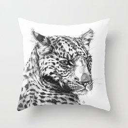 Leopard (Black & White) Throw Pillow