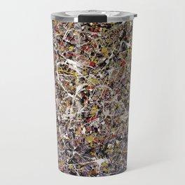 Intergalactic - Jackson Pollock style abstract painting by Rasko Travel Mug