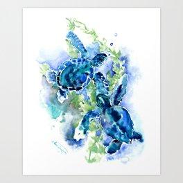 Sea Turtle Turquoise Blue Beach Underwater Scene Green Blue design Art Print