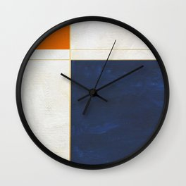 Orange, Blue And White With Golden Lines Abstract Painting Wall Clock