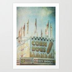 Corn Dogs Carnival Fair Food Corn Dogs & Lemonade Foodie Art Art Print