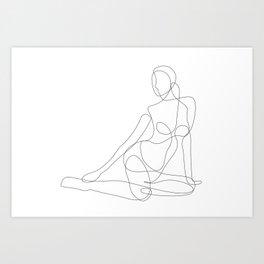 Woman Sitting on the Floor Art Print