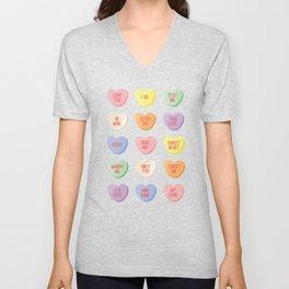 Candy Hearts Unisex V-Neck