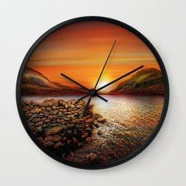 Idwal Lake Sunset Wall Clock
