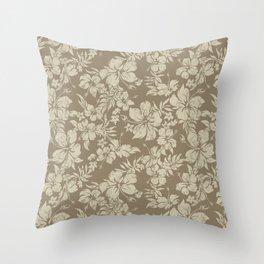 Hibiscus Pareau Hawaiian Floral Aloha Shirt Print Throw Pillow