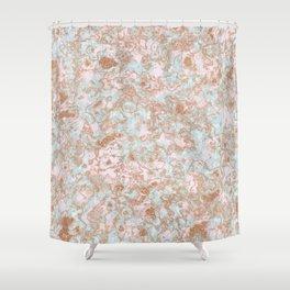 Mint Blush & Rose Gold Metallic Marble Texture Shower Curtain