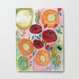 Roses and Daisies Metal Print