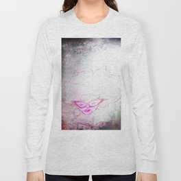 sketch of a girl with funky hair and horn-rimmed glasses reading adventure novel Long Sleeve T-shirt