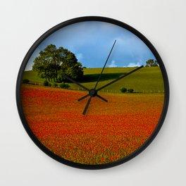 Poppy Field in Evening Light Wall Clock