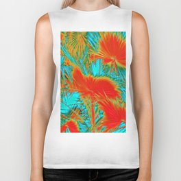 closeup palm leaf texture abstract background in orange blue green Biker Tank