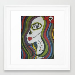 Colorful Skull Girl Framed Art Print